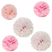 Wrapables Pom Poms Tissue, Pink, Set of 5