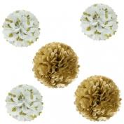 Wrapables Pom Poms Tissue, Gold, Set of 5