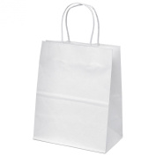 "20cm x 12cm x 10"" - 100 Pcs - White Kraft Paper Bags, Shopping, Mechandise, Party, Gift Bags"