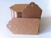 100PCS Wedding Brown Retangle Kraft Paper Tag Bonbonniere Favour Gift Tags With Jute Twines