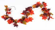 1.8m Autumn Artificial Silk Garland with Multiple Fall Colours Maple Leaves