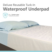 Washable Breathable Waterproof Mattress Sheet Protector Bed Underpad - 90cm x 180cm with Tuck-In Tails