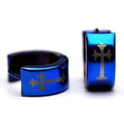 Sirius Jewellery Men Earrings Brillant Blue Crucifix Stainless Steel Huggie Hoop with Gift Box