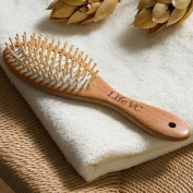 Life VC Solid Beech Wood Hairbrush Pin Massage Antistatic - Oval- Comes with a Storage Bag