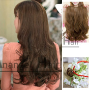 5 Clips Coffee Brown Hair Curly Clip on in Hair Extensions 25 Inches 60cm 110g Full Head Clip in Synthetic Hair Extensions Human Made Hair