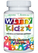 Witty Kidz Focus & Attention Brain Supplement for Kids - 90 Chewable Wafers