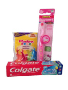 Children's Dental Care Bundle with Colgate Bubble Fruit Toothpaste 80ml, Plackers Dental Flossers, and Dr. Fresh Hello Kitty Toothbrush and Cover