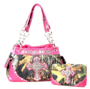 Western Handbag Camouflage Cross Camo Rhinestone Purse With Matching Wallet