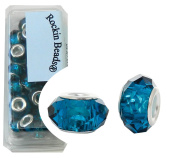 24 Teal Blue Beads Faceted Glass Large 4.5-5mm Hole Silver Plated Compatible with Most European Charm Bracelets