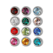 STAINLESS STEEL MINI ASSORTED BIRTHSTONES EARRING STUD