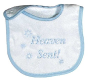Raindrops Heaven Sent Embroidered Bib, Blue