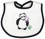 Raindrops Panda Appliqued Bib, Black
