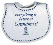 Raindrops Everything is Better At Grandma's Embroidered Bib, Royal Blue
