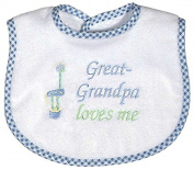 Raindrops Great-Grandpa Loves Me Embroidered Bib, Blue
