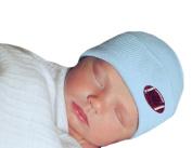 Melondipity's Blue Football Hospital Beanie - Nursery Hat Newborn Boys