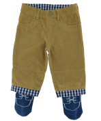 Tucker'd Tan Corduroy Infant Pants w/Attached Blue Socks 0-3mth