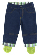 Tucker'd Blue Jeans Infant Trousers with Attached Green Socks. The Cutest & Most Functional Baby Boys Pants on the Market! Never Look for Lost Socks Again!