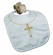 Christening Bib with Embroidered Gold Cross - Large
