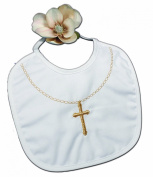 Fancy Christening Bib with Embroidered Gold Chain and Cross