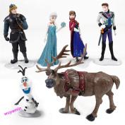 Movie Frozen Figures Toys Dolls Anna Elsa Hans Sven Olaf Cake Topper 6pcs