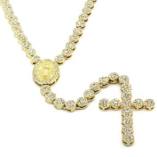 Iced Out 90cm Gold Rosary Cluster Simulated Diamond Chain Necklace Cross 14K Finish