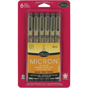 Sakura 50035 6-Piece Pigma Micron-01 Ink Pen Set, 0.25mm, Black