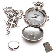 ETSYG Cosplay Fullmetal Alchemist Pocket Watch + Necklace + Ring Set Silver Tone