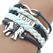 BlueTop(TM) Fashion Vintage Love Silver Infinity Elephant Bracelet White Leather Rope