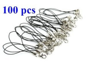 COSMOS ® 100 PCS 7.6cm Black Colour Cellphone Strap with Silver Colour Tone Split Ring and Lobster Clasp