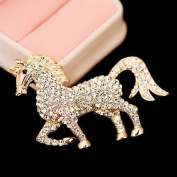 distintive & stylish BUYINHOUSE Golden Plated Flashing Rhinestones Crystals Cute Horse Brooches Pin Clips