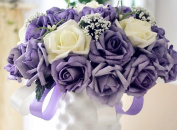 Qishi's 30 Pcs of Rose Artificial Purple & white Bouquet-bridal Wedding Bouquet