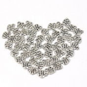 Lot 50 Silver Plated MADE WITH LOVE Heart Charms 0.9cm Pendants Beads DIY New