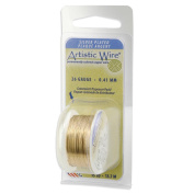 Artistic Wire, Silver Plated Craft Wire 30 Gauge Thick, 30 Yard Spool, Gold Colour