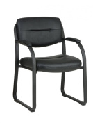 Office Star Products Worksmart Faux Leather Visitors Chair with Sled Base