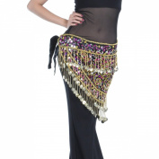 Elegant Look 150tassels gold coins With crocheted sequins beads & Waistband belly dance scarf,V-shape