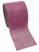 Pink Diamond Rhinestone Mesh Ribbon, Wedding Ribbon, Nappy Cake Ribbon, 12cm x 10 Yards, 24 Row, 1 Roll
