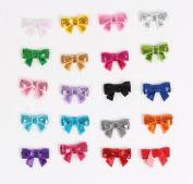 Cloris 50pcs Assorted Colours Mini Handmade Bling Sequin Bows for DIY Headbands Clips