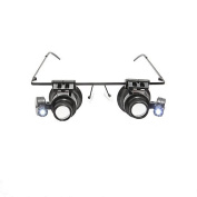 Eyeglasses Jeweller 20X Magnifier Magnifying Glass Loupe LED Light Watch Repair By Kurtzy TM