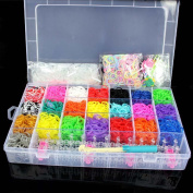 5600 Colourful Rainbow Rubber Loom Bands Bracelet Making Kit Set With S-Clips By Catalina
