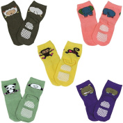 Fun Zoo Animal Non-Skid Baby Socks, set of 5, Size