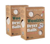 Woolzies- Wool Dryer Balls, Natural Fabric Softener 6 XL Balls,2 Pack