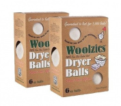Woolzies- Wool Dryer Balls, Natural Fabric Softener 6 XL Balls,2 Pack