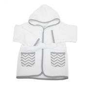 American Baby Company 100% Cotton Terry Baby Bathrobe, White/Grey, 0-9 Months