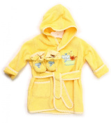 Spasilk 100% Cotton Hooded Terry Bathrobe with Booties, Yellow Ark, 0-9 Months