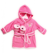 Spasilk 100% Cotton Hooded Terry Bathrobe with Booties, Pink Butterfly, 0-9 Months
