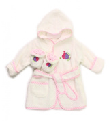 Spasilk 100% Cotton Hooded Terry Bathrobe with Booties, Pink Fish, 0-9 Months
