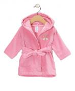 Spasilk 100% Cotton Hooded Velour Bathrobe, Pink Butterfly