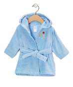Spasilk 100% Cotton Hooded Velour Bathrobe, Blue Bear