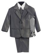 Boy's 2-Button Metallic Suit in Pewter or Silver (Infant-Tween) Vest 2 Ties