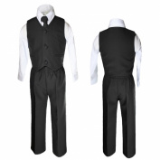 Unotux 4 Piece Formal Boys Black Vest Necktie Sets Suits From 0 Month to 7 Years